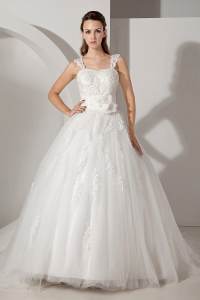 Straps Court Train Tulle Taffeta Appliques Wedding Dress
