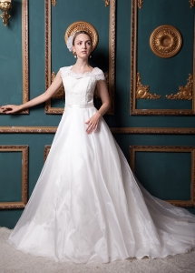 Elegant Chapel Train Lace Sleeves Wedding Gown Dress