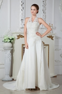 Halter Top A-Line Lace Wedding Bridal Gown Court Train