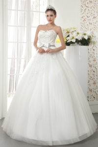 Hot A-line Princess Strapless Tulle Beading Wedding Dress