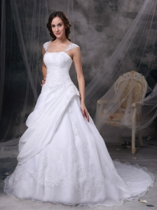 White Square Wedding Gown Satin and Organza Embriodery