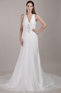 Wedding Dress White V-neck Chapel Train Chiffon Appliques