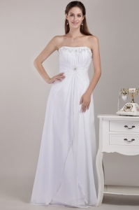White Empire Strapless Chiffon Beading Wedding Dress