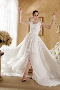 White Empire V-neck Bowknot and Ruch Wedding Dress