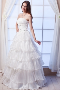 Wedding Gown A-line Strapless Floor-length Organza Beading