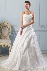 Spaghetti Straps A-line Wedding Gowns Lace With Ruched