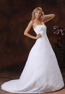 A-line Strapless Wedding Dress With Brus Train Embroidery Overlay