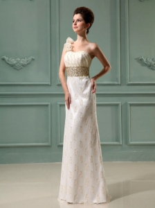 Champagne Beading Column Organza One Shoulder Bridal Gown