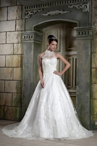 Halter Top A-line Chapel Train Lace Beading Wedding Gown