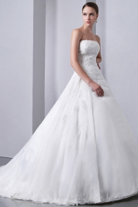 A-line Chapel Train Satin and Organza Appliques Wedding Dress