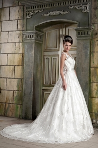 Beautiful V-neck Lace Beading A-line Chapel Train Bridal Gown
