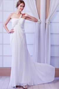One Shoulder Court Train Chiffon Beading Wedding Bridal Gown