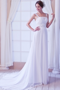Beautiful Straps Empire Court Train Chiffon Beading Bridal Gown