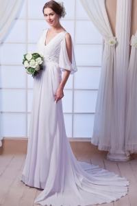 Beautiful V-neck Empire Court Train Chiffon Beading Wedding Dress
