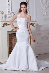 One Shoulder Mermaid Satin Beading and Embroidery Bridal Gown