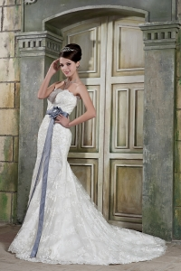Beautiful Mermaid Strapless Court Train Lace Sash Wedding Dress