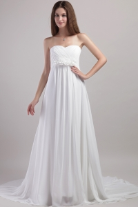 Empire Chapel Train Chiffon Handle Flowers Wedding Dress