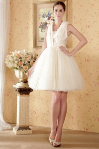 Champagne Square Knee-length Net Ruch Wedding Dress