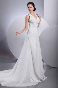 Halter Appliques Brand new Wedding Dress With Buttons Back