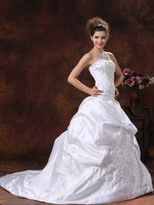 Custom Made Wedding Dress With Embroidery Bodice and Pick-ups