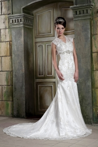 Custom Made Mermaid V-neck Lace Beading Wedding Bridal Gown