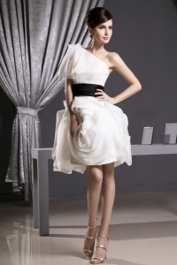 Custom Made Short Prom Dress With Belt Mini-length One Shoulder