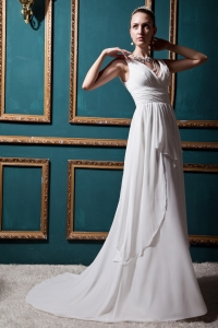 Discount V-neck Empire Brush Train Chiffon Ruch Bridal Gown