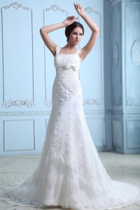 Mermaid Square Court Train Satin Lace Wedding Dress