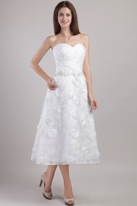 Sweetheart Ankle-length White Appliques and Beading Bridal Gown