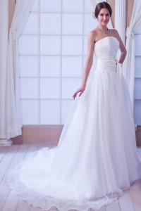 Elegant A-line Strapless Court Train Organza Sashes Wedding Dress