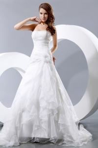 Taffeta and Organza Ruch and Hand Made Flower Wedding Bridal Gown