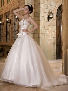 Elegant Sweep Train Taffeta and Organza Beading Wedding Dress