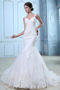 Mermaid Straps Wedding Dress Court Train Organza Lace