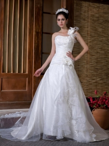 One Shoulder Taffeta and Organza Hand Made Flowers Wedding Gown