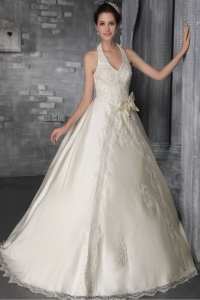 Halter Brush/Sweep Satin Lace and Beading Bridal Gown