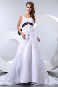 Straps Chapel Train Taffeta and Lace Bow Beading Wedding Dress