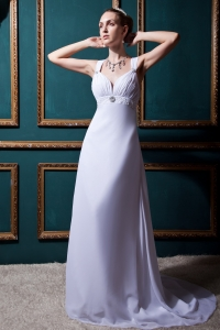 V-neck Empire Brush Train Chiffon Beading Wedding Dress