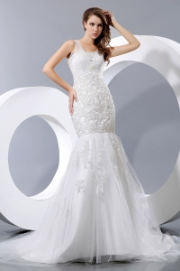 Fashionable Mermaid Straps Court Train Taffeta and Lace Bridal Gown