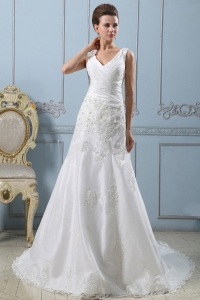V-neck A-line Wedding Dress Lace Ruched Bodice