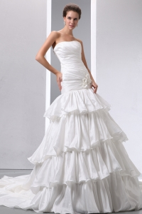 A-line Strapless Ruffled Layers Hand Made Flower Ruch Wedding Dress