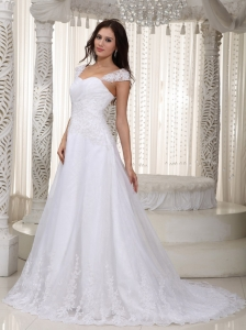 A-line Straps Court Train Lace Ruch Wedding Dress