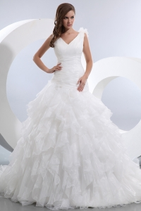 V-neck Taffeta and Organza Ruffles and Ruch Wedding Dress