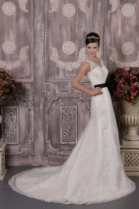 Gorgeous Column V-neck Court Train Black Lace Sash Wedding Dress