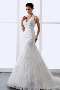 Halter Appliques Tulle Court Train Modern Wedding Bridal Gown