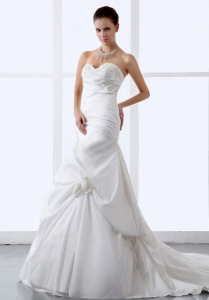 Hand Made Flowers Sweetheart A-line Wedding Dress 2013 New Style