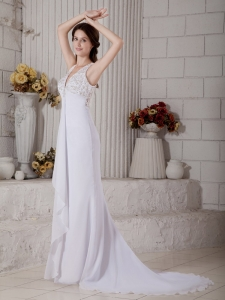 V-neck Mermaid Brush Train Chiffon Lace and Beading Bridal Gown