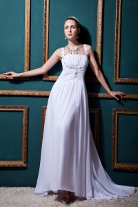 Straps Empire Chiffon Beading and Ruch Brush Train Wedding Dress