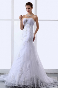 Lace Appliques Sweetheart Tulle Stylish Wedding Dress for 2013