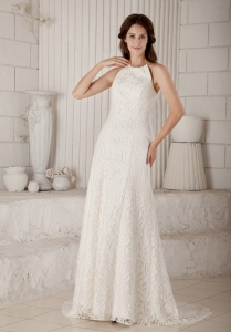 Lovely High-neck Column Brush Train Lace Bridal Gown