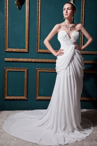 Low Price Ruch Column Sweetheart Chiffon Wedding Dress